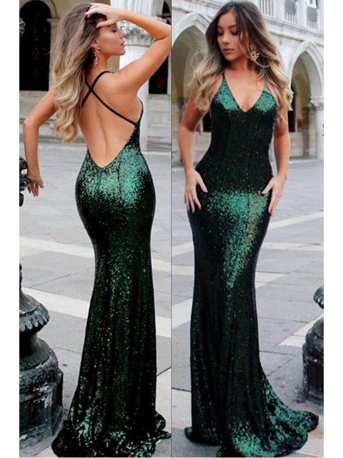 Spaghetti Strap V-neck Burgundy Sequins Sexy Mermaid Prom Dresses, QB0271