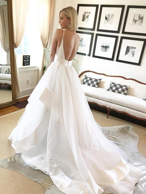 Spaghetti Strap V Neck Wedding Dresses Backless Layered Bridal Dresses, QB0354