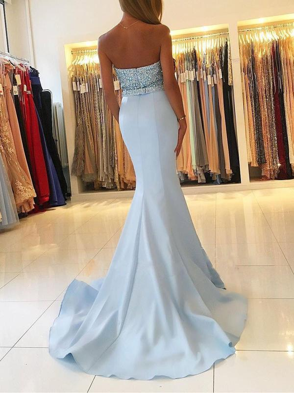 Strapless Sweetheart Neck Beaded Bodice Mermaid Long Cheap Prom Dresses, QB0278