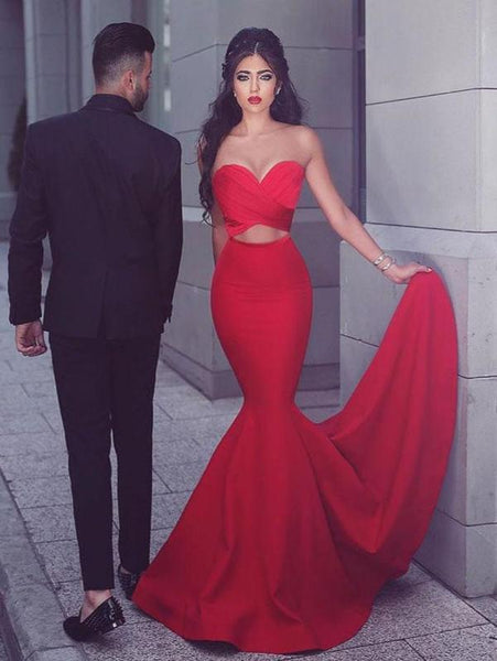 Red Strapless Sweetheart Neck Simple Cheap Mermaid Prom Dresses, QB0297