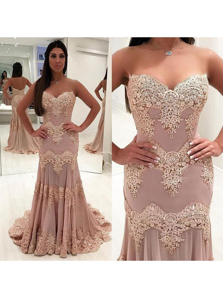 d3c99cd15b9 Strapless Sweetheart Neck Vintage Lace Mermaid Prom Dresses