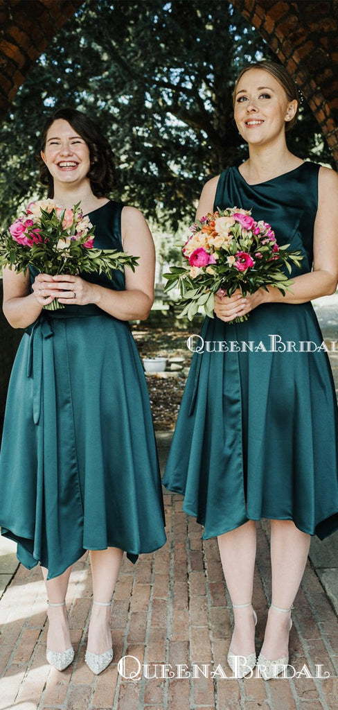 Charming Elegant Round Neck Sleeveless Teal Elastic Silk A-line Short Cheap Bridesmaid Dresses, BDS0001