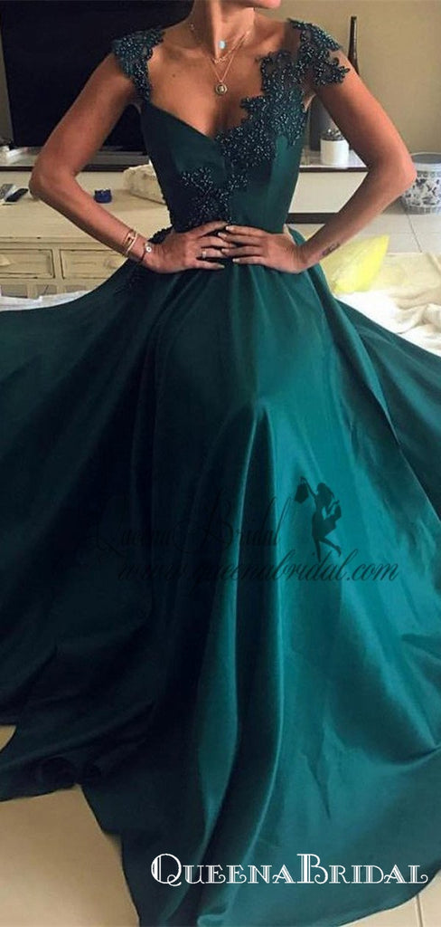 2021 Cap Sleeve Sleeves Emerald Green Evening Prom Dresses, QB0446