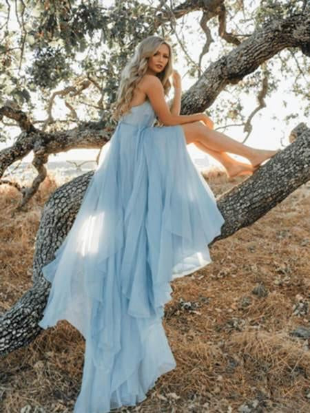 Sexy V-neck Sleeveless Split Sky Blue Beach Simple Wedding Dresses Chiffon Long Prom Dresses, PDS0054