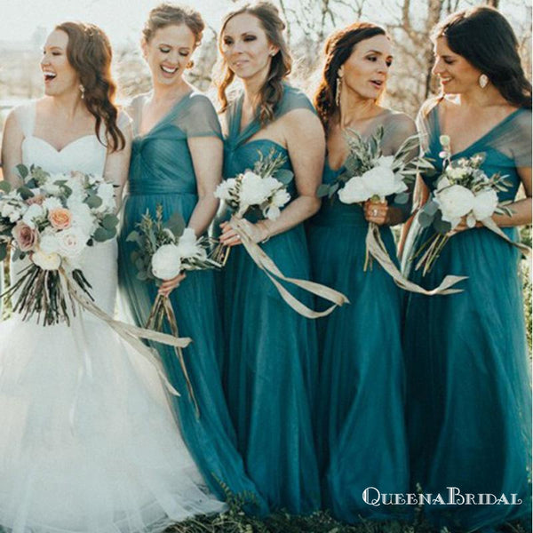A-Line V-Neck Long Cheap Turquoise Tulle Bridesmaid Dresses, QB0702