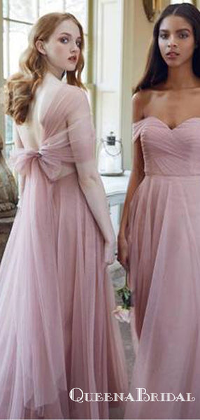 Romantic Pink Tulle Multiway Long Cheap Bridesmaid Dresses, QB0875