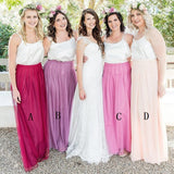 Spaghetti Straps Sleeveless Long Cheap Burgundy Tulle Bridesmaid Dresses Online, QB0032
