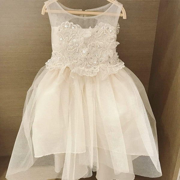 Lovely Round Neck Open Back White Flower Girl Dresses with Appliques&Beaded, QB0230
