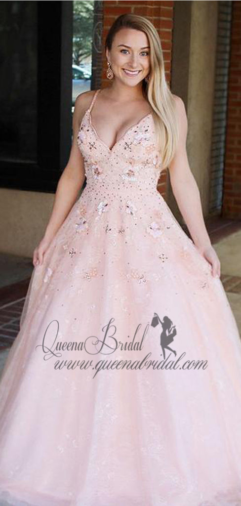 Pink Spaghetti Strap V-neck Tulle Long Prom Dresses With Beaded & Applique, QB0465