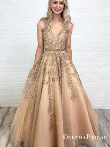 6ba276d2904e Ball Gown V Neck Open Back Gold Lace Long Prom Dresses with Beading, QB0583
