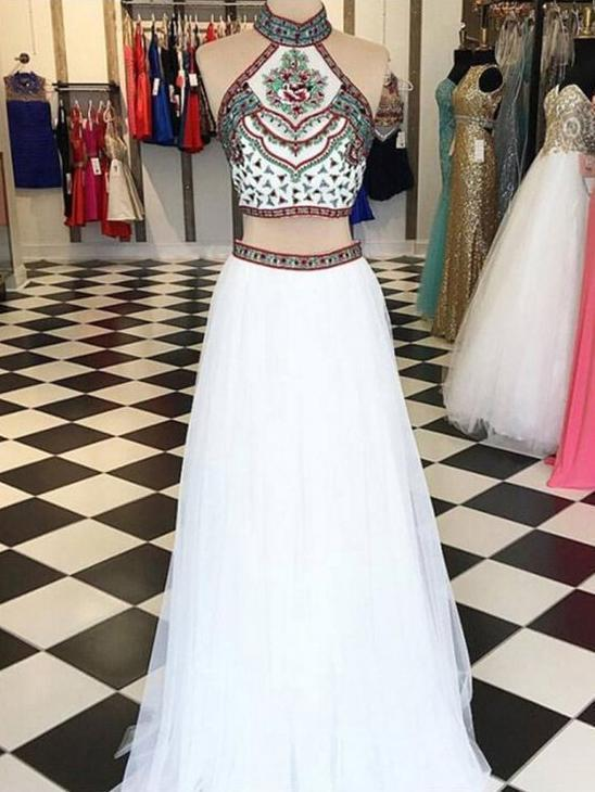 Two Piece Halter Embroidered Boho Prom Dresses White A Line Long Formal Dresses, QB0293