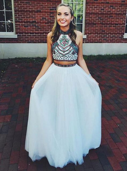 f4c10a375b Two Piece Halter Embroidered Boho Prom Dresses White A Line Long Formal  Dresses