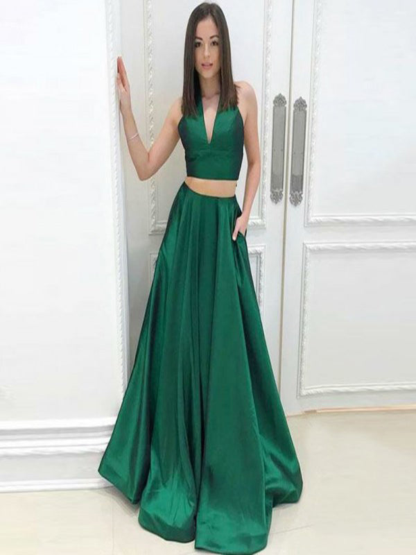 Two Piece A-Line Deep V-Neck Green Satin Prom Dresses with Pockets, QB0243