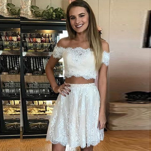 Two Piece Off-Shoulder Lace Short Cheap White Homecoming Dresses, QB0175