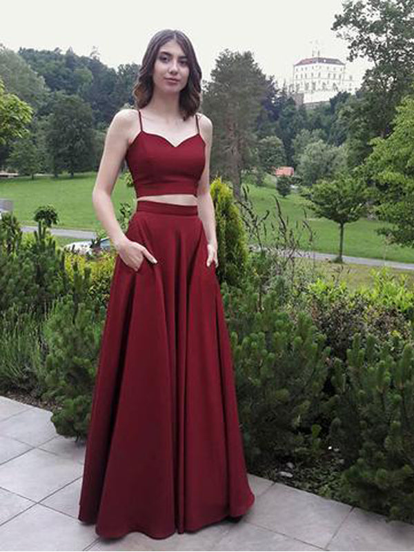 Two Pieces Burgundy Spaghetti Strap Long Cheap Prom Dresses, QB0462