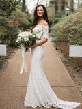 Elegant Two Piece Lace Mermaid Long Mermaid Cheap Wedding Dresses, QB0813