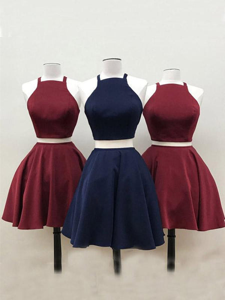 Simple Two Pieces Halter Burgundy Cheap Short Homecoming Dresses 2018, CM553