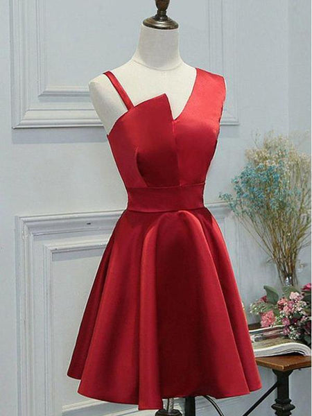 Elegant Simple Unique Red Short Cheap Homecoming Dresses Online, CM565