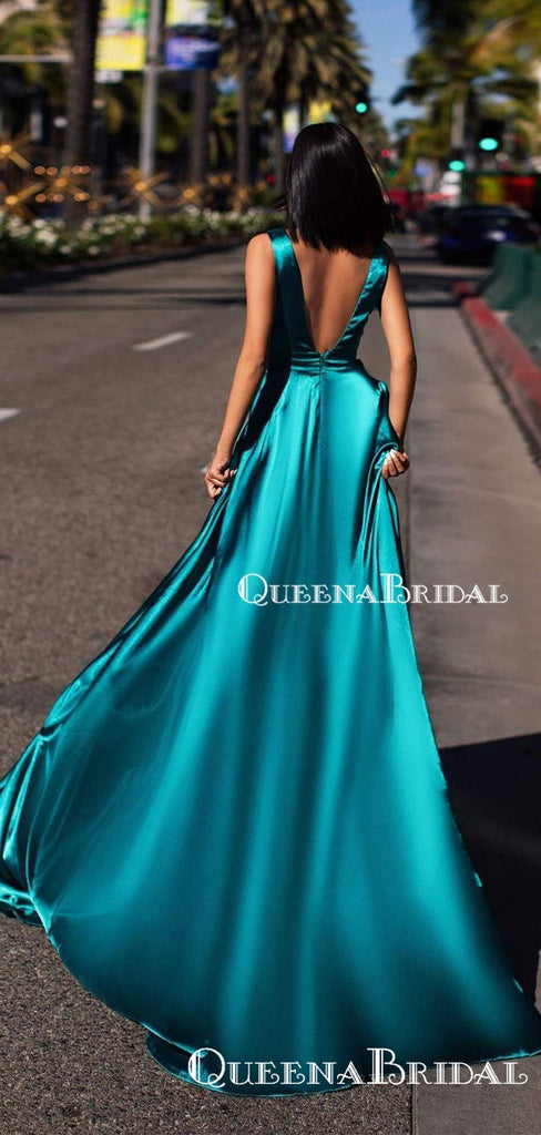 Sexy Deep V-veck Green Elastic-Silk Sleeveless A-line Side Slit Long Cheap Prom Dresses, QB0957