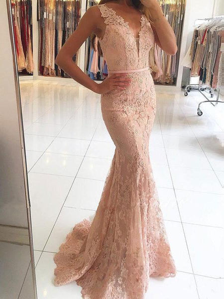 V-neck Mermaid Lace Long Prom Dresses with Sweep Train, QB0319