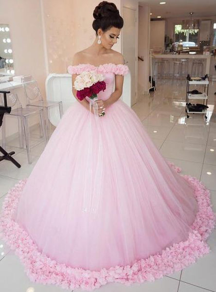 Off the Shoulder Vintage Pink Ball Gown Wedding Dresses, QB0263