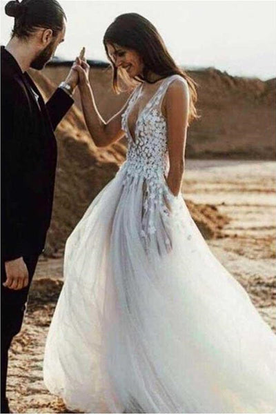 7a5d2141539 Sexy See Through Beach Wedding Dresses V Neck Bridal Dress with Slit ...