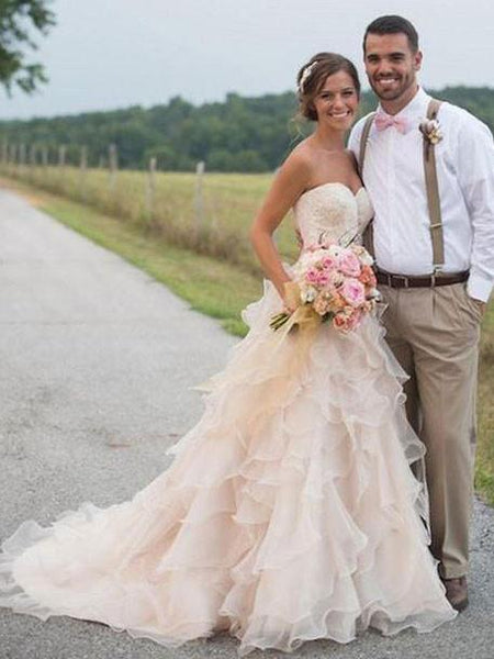 Blush Wedding Dress.Sweetheart Blush Wedding Dress Strapless Rustic Wedding Dresses Qb0261