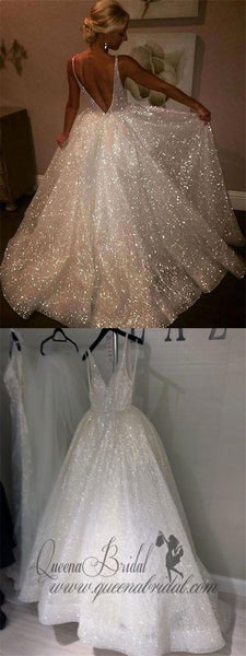 A Line Backless Beach Wedding Dresses V Neck Sequins Ivory Wedding Gowns, QB0260