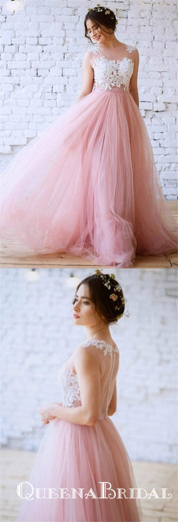 Unique A-Line Jewel Pink Tulle White Lace Long Cheap Wedding Dresses, QB0816
