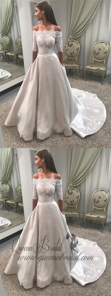 Off Shoulder Lace Modest Long Sleeve Ball Gown Wedding Dresses With Pocket, QB0262