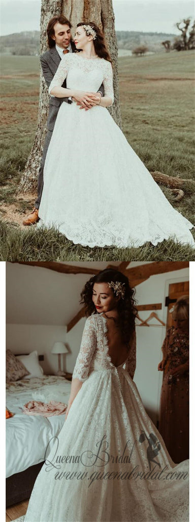 Backless Modest Vintage Lace Ball Gown Wedding Dresses with Sleeves, QB324