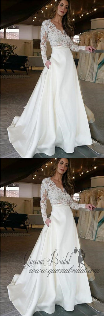 Long Sleeve Wedding Dresses See Through Lace Top Ivory Wedding Dresses, QB0352