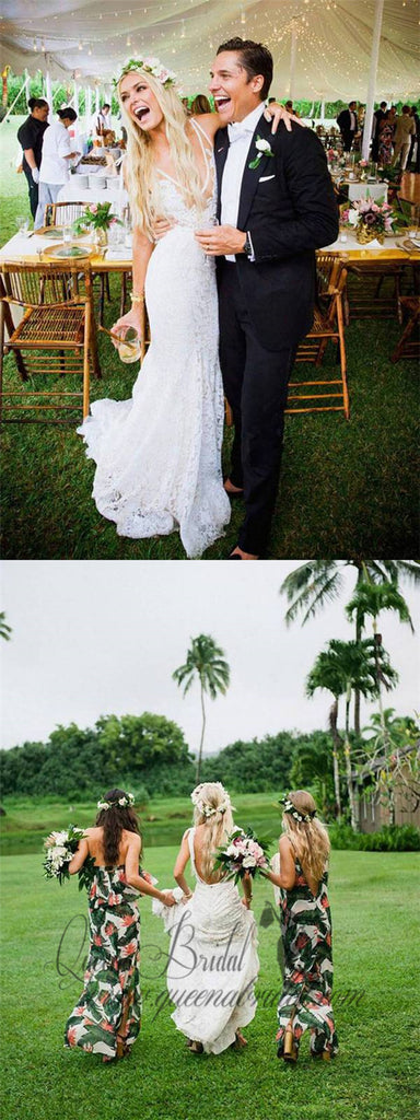 Ivory Lace Country Wedding Dresses V Neck Mermaid Wedding Dresses, QB0351
