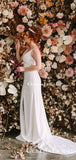 Newest Charming Sexy Spaghetti Strap V-neck Sleeveless Long Cheap Mermaid Wedding Dresses, QB0939