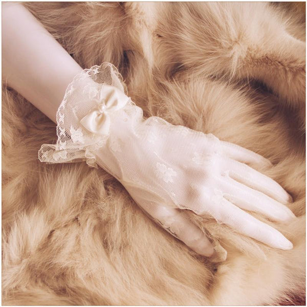 Wedding Gloves, Lace Flower Bridal Gloves, French Lace Gloves, Short Gloves, Rhinestone Glove, TYP0531