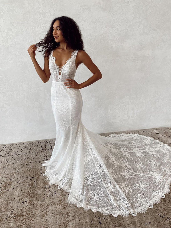 Charming V-neck Lace Mermaid Long Cheap Wedding Dresses, WDS0049