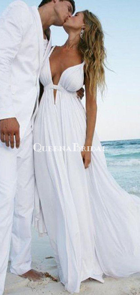 Unique Sexy Simple Casual Cheap White Beach Wedding Dresses, WD309