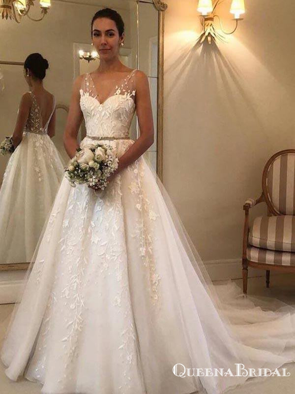 Elegant V-neck Lace A-line Long Cheap Wedding Dresses, WDS0034