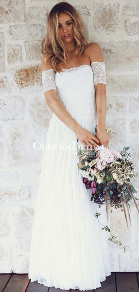 Off Shoulder Casual Cheap Ivory Lace Wedding Dresses Online, WD361