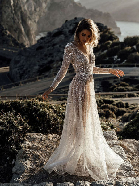Sparkly V-neck Long Sleeve Sequin A-line Long Cheap Beach Wedding Dresses, WDS0042