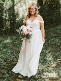 Simple Off-The-Shoulder Off-White Chiffon A-line Long Cheap Beach Wedding Dresses, WDS0002