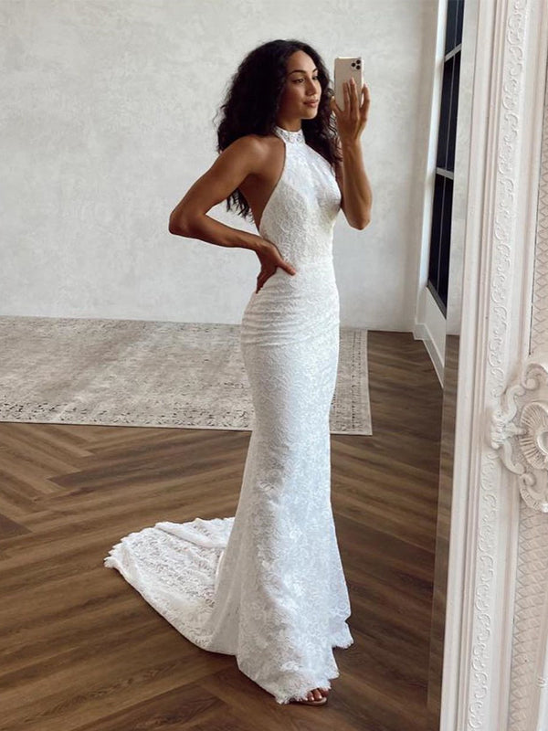 Elegant Halter Mermaid Lace Long Cheap Wedding Dresses, WDS0047