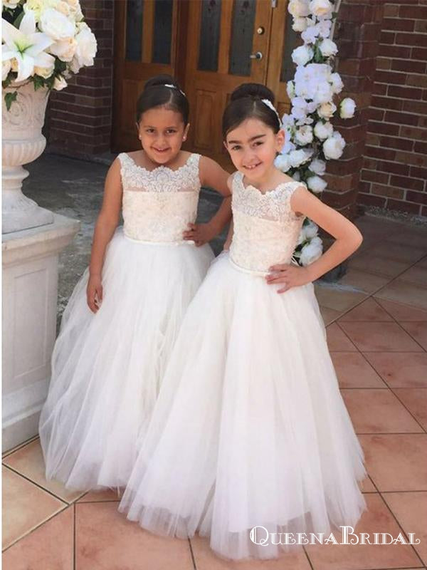 A-Line Spaghetti Straps White Floor Length Flower Girl Dresses with Appliques, QB0828