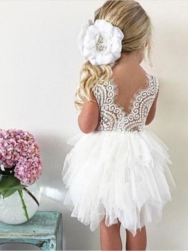 Ball Gown Jewel V-Back Tiered Tulle Cheap Flower Girl Dresses with Lace, QB0080