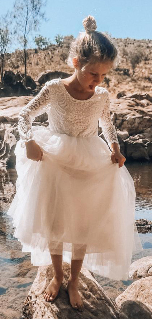Cute Charming Round Neck Long Sleeves Ivory Lace Tulle Long Cheap Flower Girl Dresses, FD0001