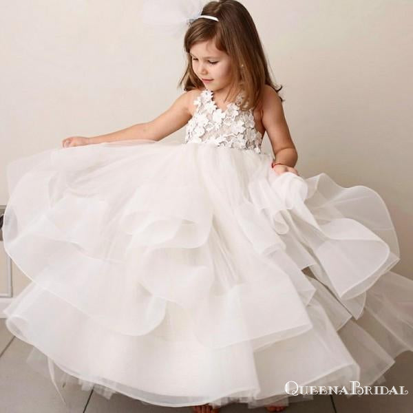 ef9e2799bc3 A-Line Round Neck Tiered White Organza Flower Girl Dresses with Lace  Applique
