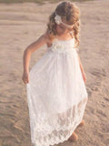 Cute A-Line Scoop Neck White Lace Long Cheap Flower Girl Dresses with Handmade Flower, QB0098