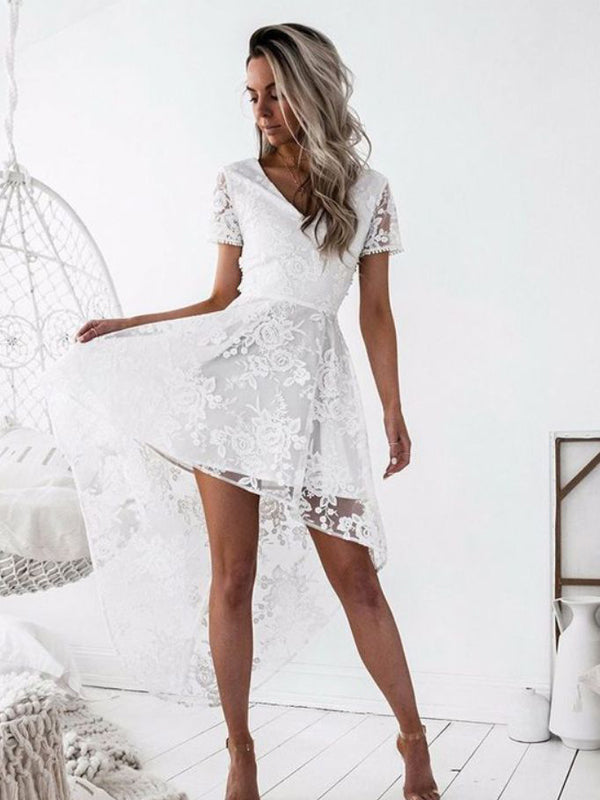 Sexy  V-Neck Short Sleeves White Lace High Low Cheap Homecoming Dresses, QB0075