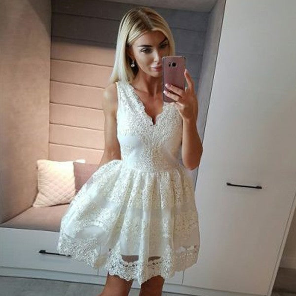 A-Line V-Neck Short Cheap White Homecoming Dresses with Appliques, QB0058