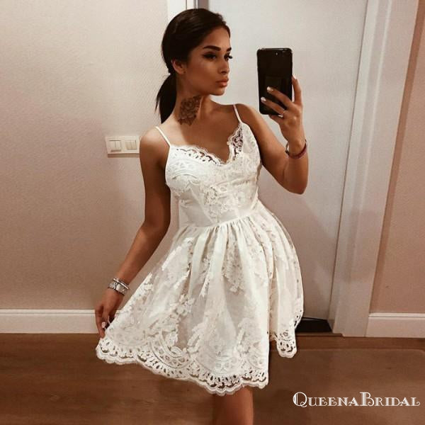 Sexy Spaghetti Strap Backless White Homecoming Dresses with Appliques, QB0060
